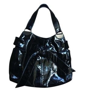 Kooba Hobo Shine Black Patent Leather Shoulder Bag